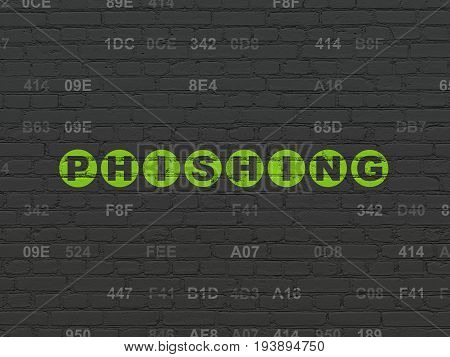 Privacy concept: Painted green text Phishing on Black Brick wall background with Hexadecimal Code