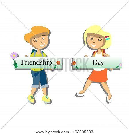 Happy friends enjoying Friendship Day. Cartoon hand drawn illustration for your design.
