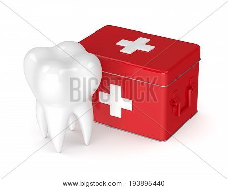 3D Render Of Tooth With First Aid Kit