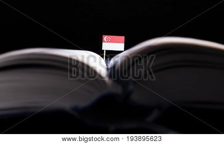 Singaporean Flag In The Middle Of The Book. Knowledge And Education Concept.