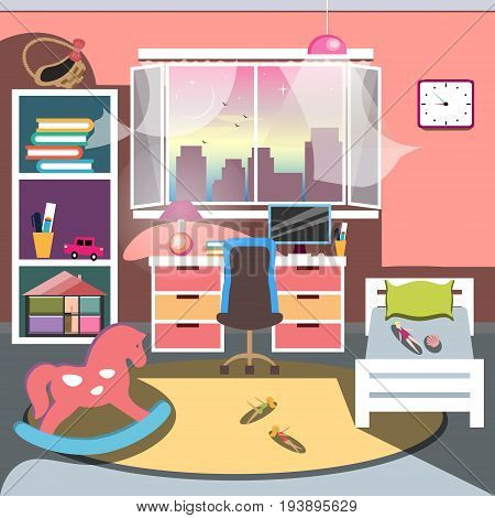 Girls all pink bedroom interior. Flat style cartoon vector illustration with isolated objects.