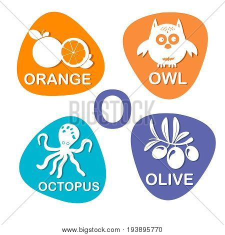 Cute alphabet in vector. O letter for orange, owl, octopus and olive. Alphabet design in a colorful style