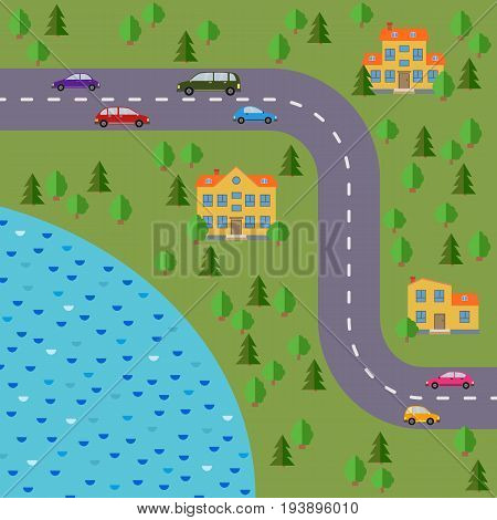 Plan of village. Landscape with the road forest lake cars and houses. Vector illustration