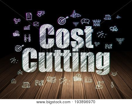 Finance concept: Glowing text Cost Cutting,  Hand Drawn Business Icons in grunge dark room with Wooden Floor, black background