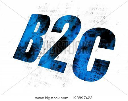 Finance concept: Pixelated blue text B2c on Digital background