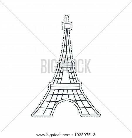 Hand drawn patch badge with France symbol - Eiffel tower. Sticker, pin and patche in cartoon 80s-90s comic style.
