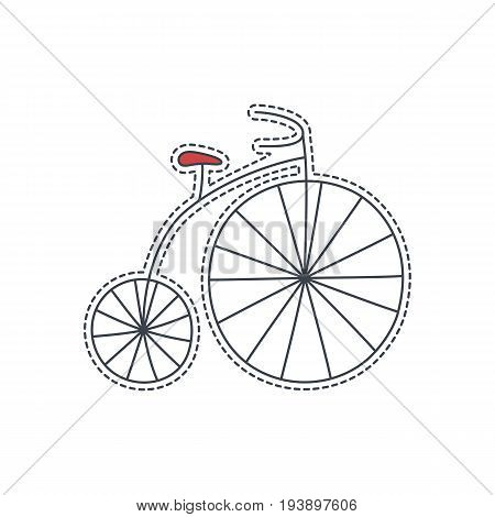 Hand drawn patch badge with France symbol - bicycle. Sticker, pin and patche in cartoon 80s-90s comic style.