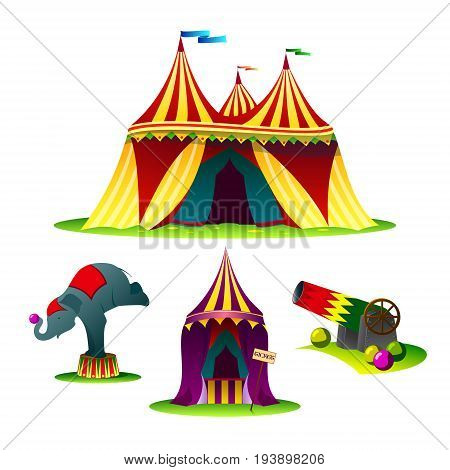 Vector stylized illustration a set of elements or icons for a circus featuring an elephant a circus tent a gan and shells.