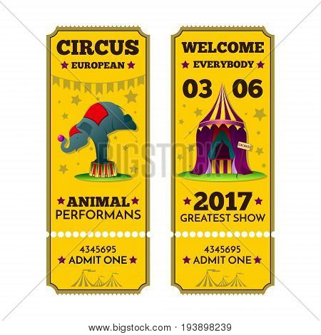 Stylized image of tickets to the circus. A set of circus elements. An image of a circus elephant tent and information about the performance.