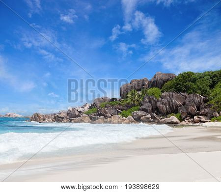 Scenic  white sand beach with granite boulders,  La Digue, Seychelles