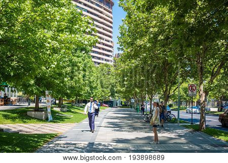 SANTIAGO CHILE - NOVEMBER 11 2016: People walking in Barrio Nueva Las Condes. This is a new commercial and business center.