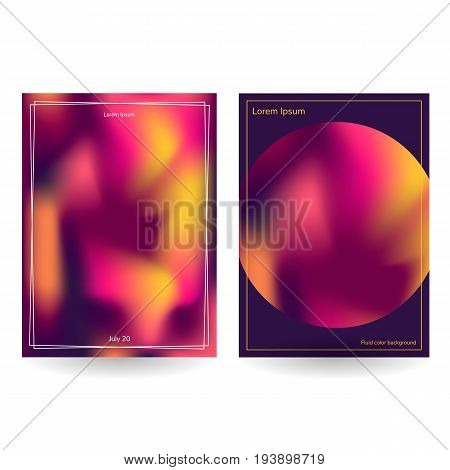 Vector Illustration. Set Of Postcards Fluid Colors Purple, Pink,