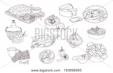 Georgian cuisine. Different dishes. Hand drawn black and white vector illustration