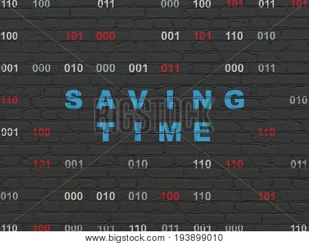 Time concept: Painted blue text Saving Time on Black Brick wall background with Binary Code