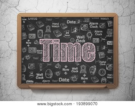Time concept: Chalk Pink text Time on School board background with  Hand Drawing Time Icons, 3D Rendering
