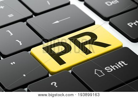 Marketing concept: computer keyboard with word PR, selected focus on enter button background, 3D rendering