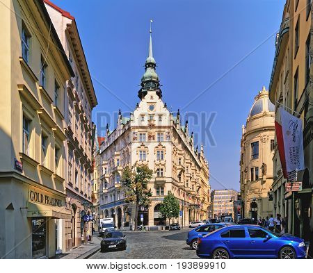 Building Of Beatiful Architecture At Kralodvorska Street And U Obecniho Domu Street Crossroads. Prag