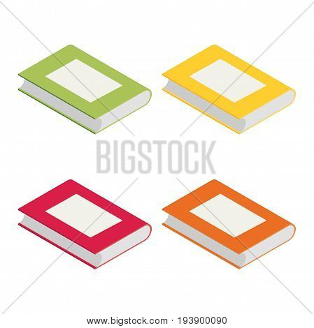 isometric book in bright colours isolated on white