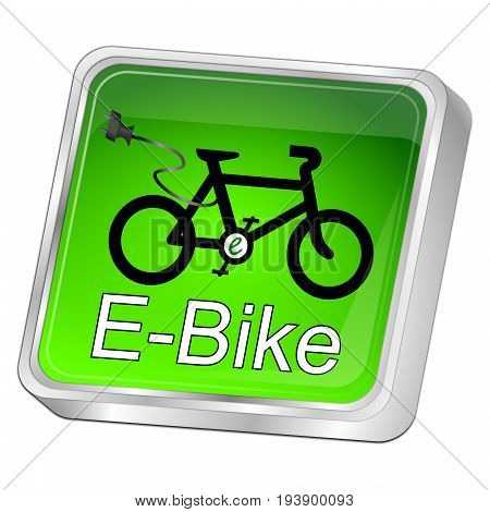 glossy green E-Bike Button - 3D illustration