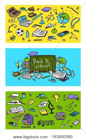 Back to school set of cards with educational objects. Colored sketch. 3 labels in 1. poster invitation greeting business card. For decoration packing wrapping prints. school pack prints