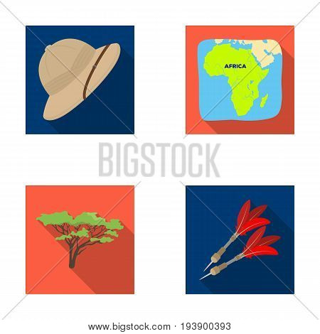 Cork hat, darts, savannah tree, territory map. African safari set collection icons in flat style vector symbol stock illustration .