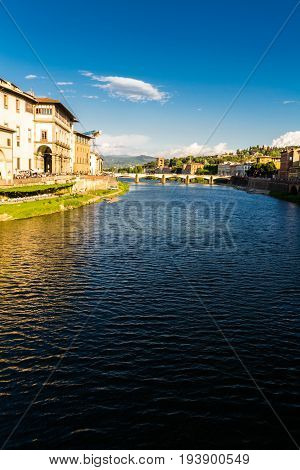 River Arno In Florence, Evening.