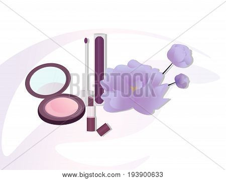 Vector Cosmetics set package. Hydration cream and lotion, shampoo, nail polish, lip balm. Perfect for advertising, flyer, banner, poster. 2d illustration