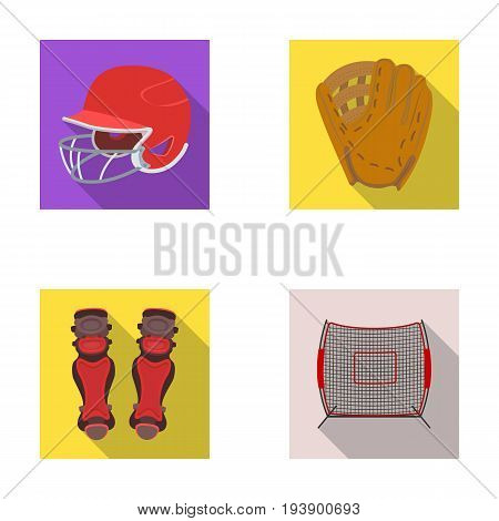 Helmet protective, knee pads and other accessories. Baseball set collection icons in flat style vector symbol stock illustration .