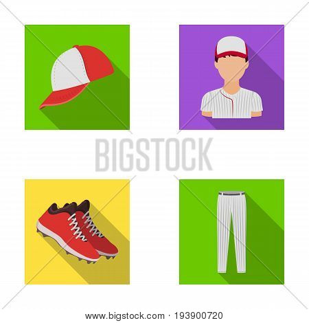 Baseball cap, player and other accessories. Baseball set collection icons in flat style vector symbol stock illustration .