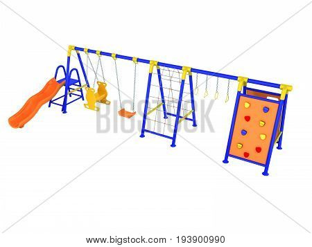 Playground For Games Slide Blue Yellow 3D Render On White Background No Shadow