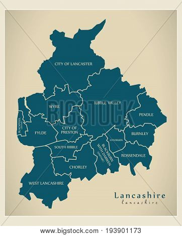 Modern Map - Lancashire County With Detailed County Captions England Uk Illustration