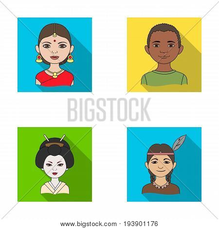 Indian woman, african, japanese, indian. Human race set collection icons in flat style vector symbol stock illustration .