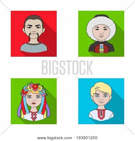 Chinese, ukrainian, russian, eskimo. Human race set collection icons in flat style vector symbol stock illustration .