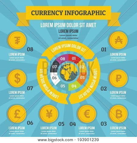 Currency infographic banner concept. Flat illustration of currency infographic vector poster concept for web