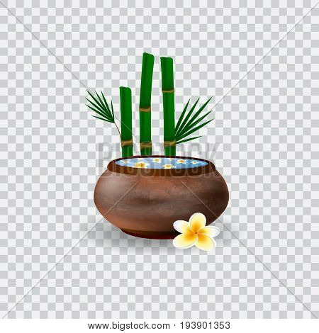Spa bowl filled with water and plumeria flowers. Bowl and bamboo vector illustration
