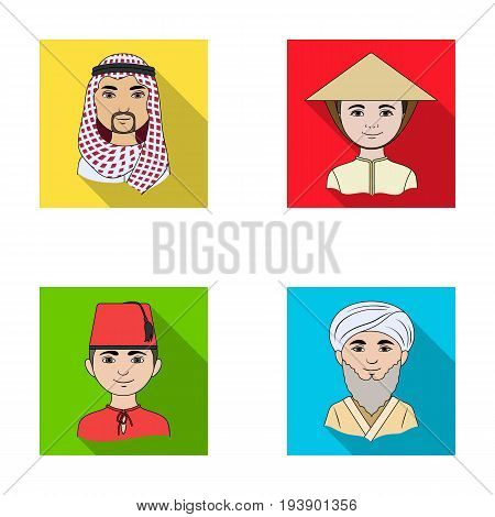 Arab, turks, vietnamese, middle asia man. Human race set collection icons in flat style vector symbol stock illustration .