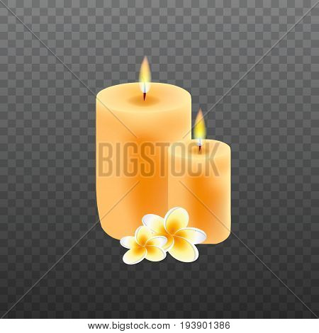 Realistic candles with plumeria flowers. Spa concept with candles
