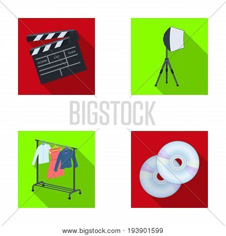 Movies, discs and other equipment for the cinema. Making movies set collection icons in flat style vector symbol stock illustration .