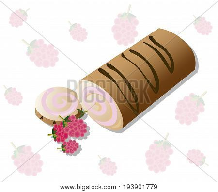Roll cakes Vector with raspberry fruits. Sweets, dessert berry frosting delicious chocolate syrop