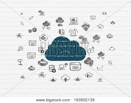 Cloud networking concept: Painted blue Cloud icon on White Brick wall background with  Hand Drawn Cloud Technology Icons