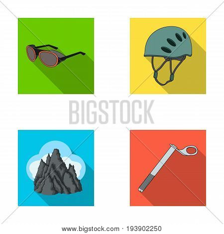 Helmet, goggles, wedge safety, peaks in the clouds.Mountaineering set collection icons in flat style vector symbol stock illustration .