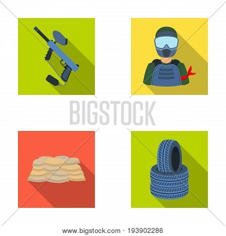 Paintball marker, player and other accessories. Paintball single icon in flat style vector symbol stock illustration .