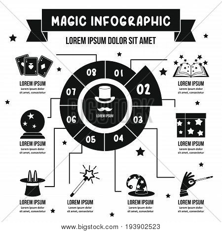 Magic infographic banner concept. Simple illustration of magic infographic vector poster concept for web
