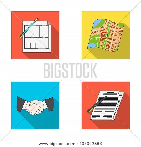 House plan, documents for signing, handshake, terrain plan. Realtor set collection icons in flat style vector symbol stock illustration .