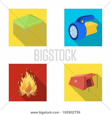 Awning, fire and other tourist equipment.Tent set collection icons in flat style vector symbol stock illustration .