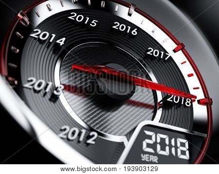 2018 Year Car Speedometer. Countdown Concept
