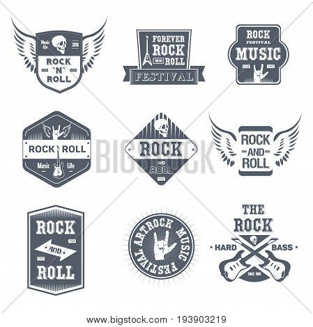 Rock Music - vector set of vintage template logo insignias. Old fashion style emblems, badges of rock'n'roll festival, hard bass, rock and roll. Apparel, leaflet, brochure, sticker design.