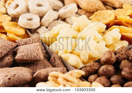 Corn flakes collection on different cereals closeup decorative background.