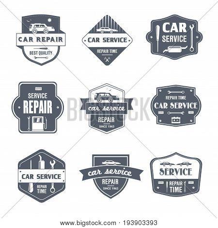 Car Repair - vector set of vintage template logo insignias. Old fashion style emblems, badges of vehicle maintenance work, service. Apparel, leaflet, brochure, sticker design. Promote your business.