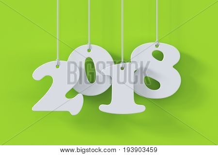 2018 White Paper Origami Card On Green Background